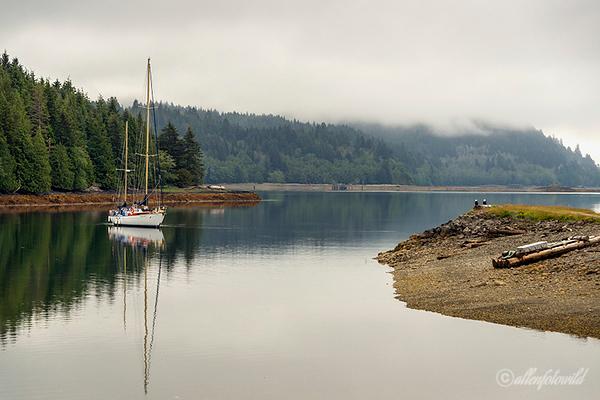 Ocean Light II anchored at Morseby Camp with two eagles, Morseby Island, Haida Gwaii sm