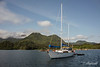 Moreby Camp harbour with 'Island Roamer' ketch at anchor, Mosesby Island, Haida Gwaii, BC