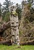 Old weathered mortuary pole,S'Gaang Gwaii, Haida Gwaii, BC