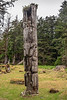 Mortuary pole with intact grave cavity on top, S'Gaang Gwaii, Haida Gwaii, BC