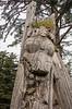 Detail of mortuary pole, S'Gaang Gwaii, Gwaii Haanas Haida Heritage Site, Haida Gwaii, BC