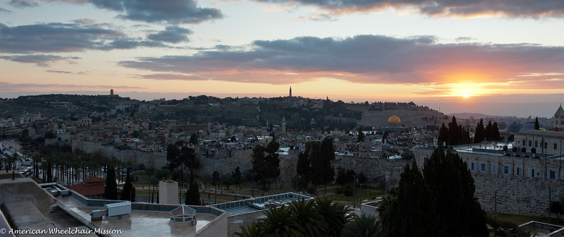 Sunrise over the old city of Jerusalem and the Mount of Olives