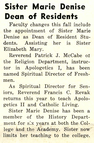 Sister Marie Denise Dean of Residents