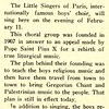 Little Singers of Paris To Give Concert Here