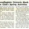 Intercollegiate Concerts Mark Glee Club's Spring Activities