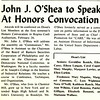 John J. O'Shea to Speak At Honors Convocation