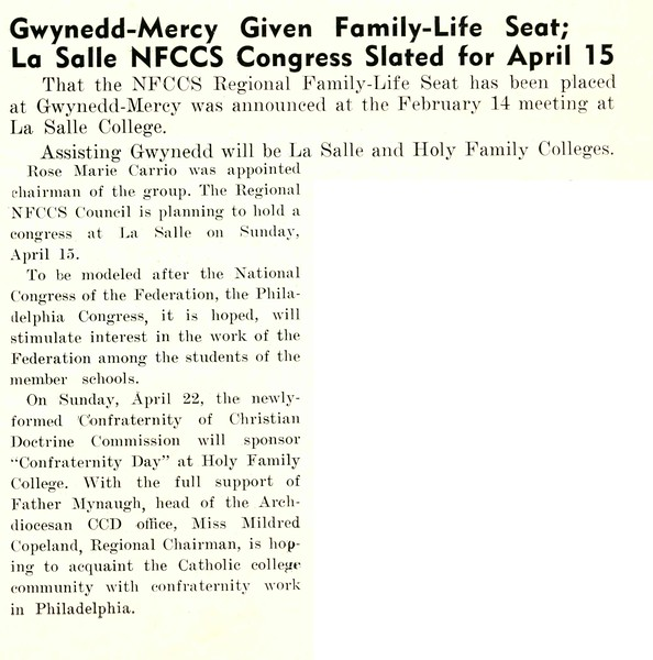 Gwynedd-Mercy Given Family-Life Seat; La Salle NFCCS Congress Slated for April 15