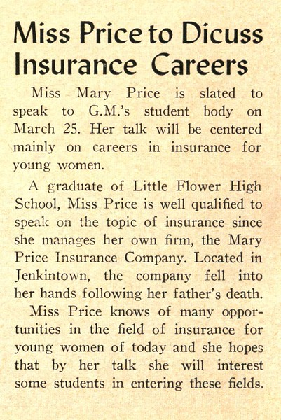 Miss Price to Discuss Insurance Careers