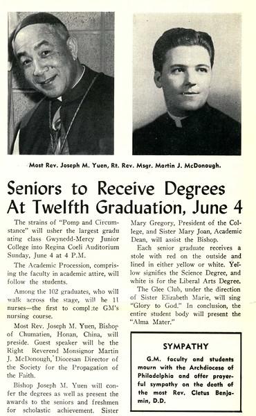Seniors to Receive Degrees At Twelfth Graduation, June 4