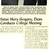 Sister Mary Gregory, Dean Conducts College Meeting