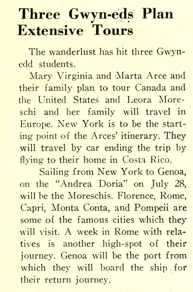 Three Gwyn-eds Plan Extensive Tours