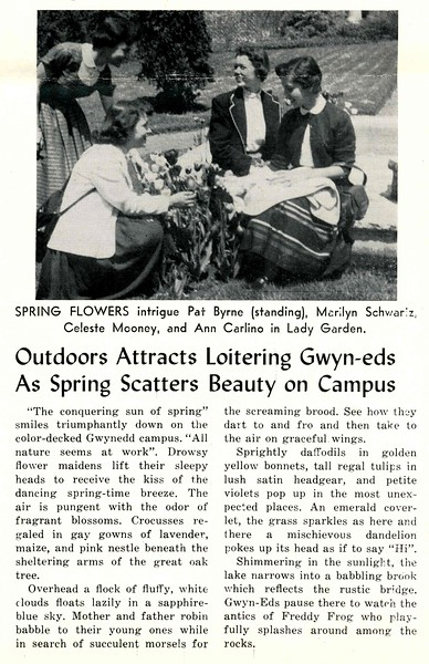 Outdoors Attracts Loitering Gwyn-eds As Spring Scatters Beauty on Campus