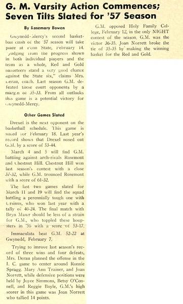 G. M. Varsity Action Commences; Seven Tilts Slated for '57 Season