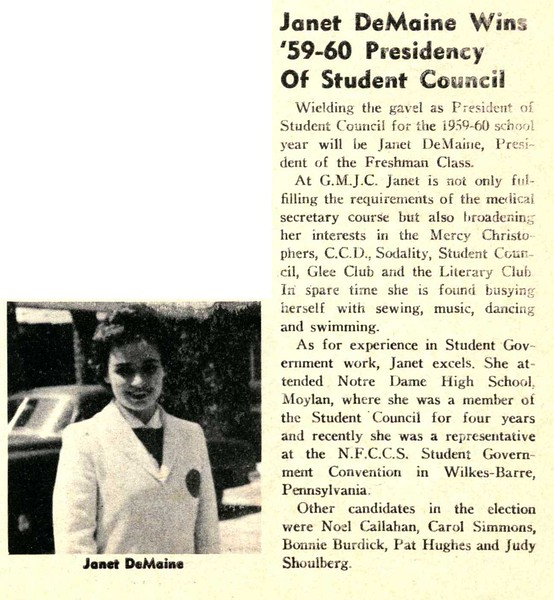 """Janet DeMaine Wins """"59-60 Presidency Of Student Council"""