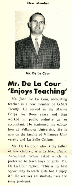 Mr. De La Cour Enjoys Teaching