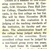Sister M. Consuelo Chosen to Evaluate Two Junior Colleges