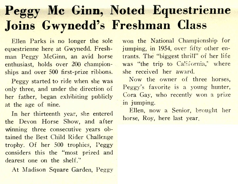 Peggy Mc Ginn, Noted Equestrienne Joins Gwynedd's Freshman Class