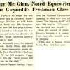 Peggy Mc Ginn, Noted Equestrienne Joins Gwynedd's Freshman Class
