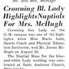 Crowning Bl. Lady Highlights Nuptials for Mrs. McHugh