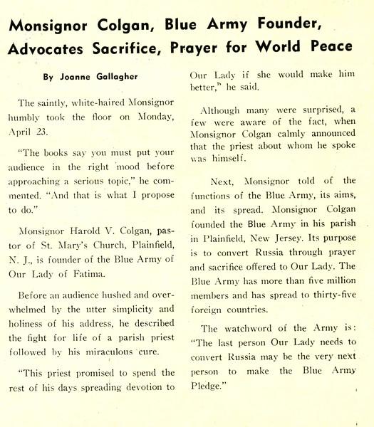 Monsignor Colgan, Blue Army Founder, Advocates Sacrifice, Prayer for World Peace