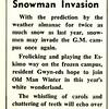 Almanacs Predict Snowman Invasion
