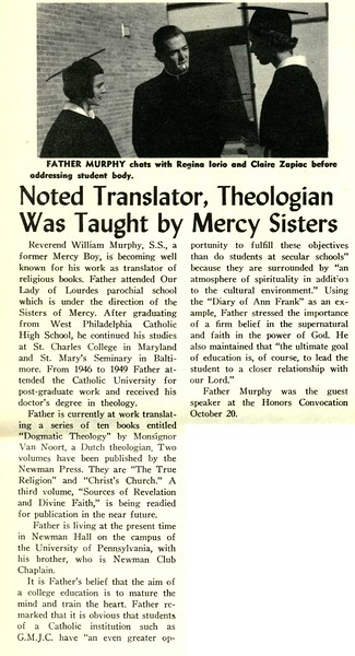 Noted Translator, Theologian Was Taught by Mercy Sisters