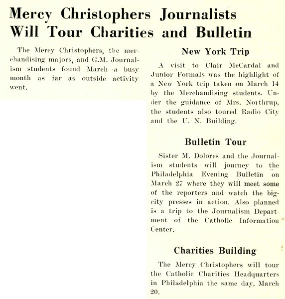 Mercy Christophers Journalists Will Tour Charities and Bulletin