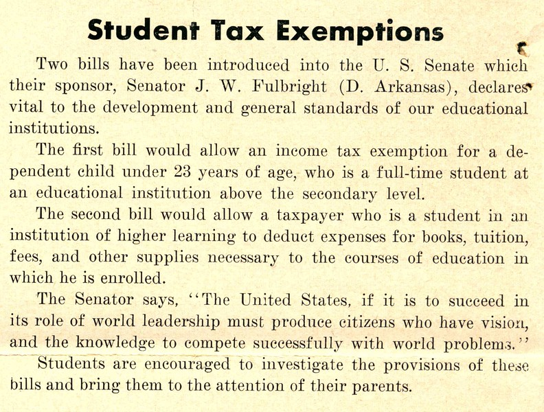 Student Tax Exemptions