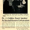 Dr. J. Cribbin Guest Speaker At Second Honors Convocation