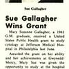 Sue Gallagher Wins Grant