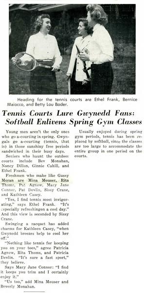 Tennis Courts Lure Gwynedd Fans; Softball Enlivens Spring Gym Classes