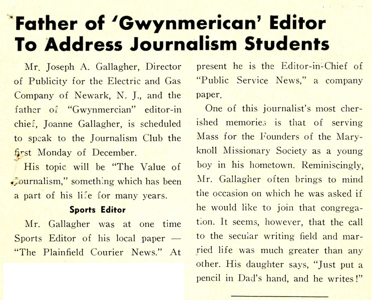 Father of 'Gwynmerican' Editor To Address Journalism Students