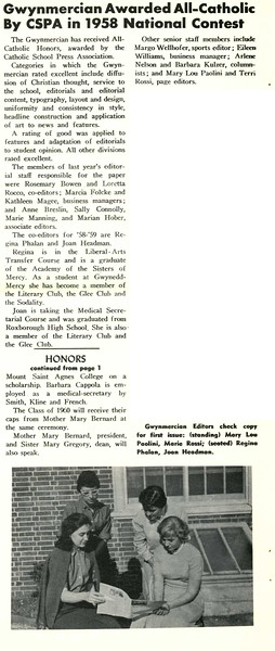 Gwynmercian Awarded All-Catholic By CSPA in 1958 National Contest