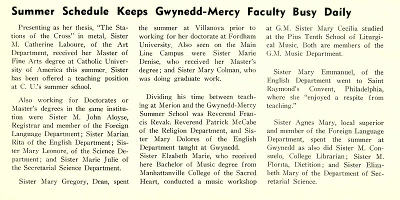 Summer Schedule Keeps Gwynedd-Mercy Faculty Busy Daily