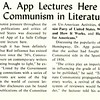 Dr. A. App Lectures Here On Communism in Literature