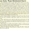 Holy Father Wants Christianized Sports
