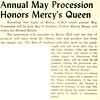 Annual May Procession Mercy's Queen Honors