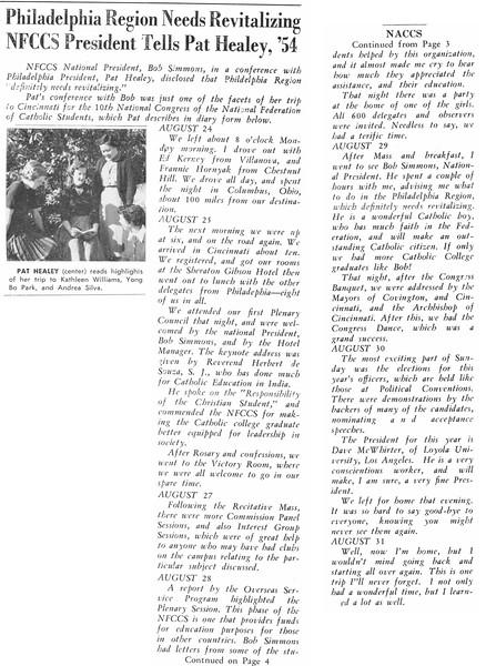 Philadelphia Region Needs Revitalizing NFCCS President Tells Pat Healey, '54