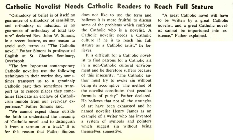 Catholic Novelist Needs Catholic Readers to Reach Full Stature