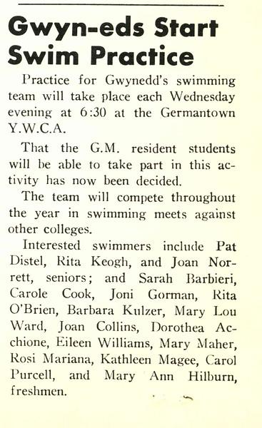 Gwyn-eds Start Swim Practice