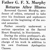 Father G. F. X. Murphy Returns After Illness