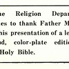 Thanks from the Religion Department