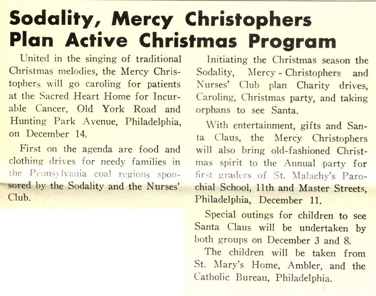 Sodality, Mercy Christophers Plan Active Christmas Program