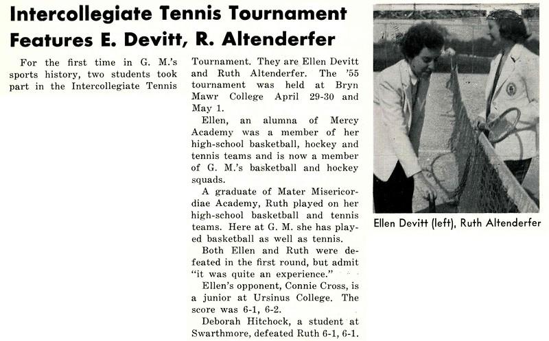 Intercollegicate Tennis Tournament Features E. Devitt, R. Altenderfer