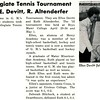 Intercollegicate Tennis Tournament Features E. Devitt, R. Altenderfer