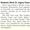 Students Mark St. Agnes Feast