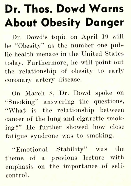 Dr. Thos. Dowd Warns About Obesity Danger