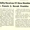 Sodality Receives 19 New Members; Rev. Francis C. Revak Presides