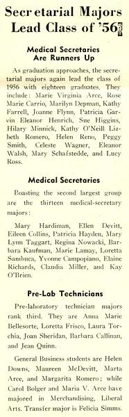 Secretarial Majors Lead Class of '56