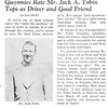 Gwynnies Rate Mr. Jack A. Tobin Tops as Driver and Good Friend